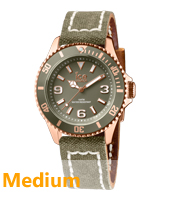 Ice-Canvas Rose gold watch with khaki canvas strap