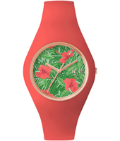 Ice-Flower Aloha Rose gold watch with pink silicone strap