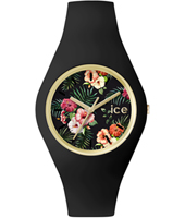 Ice-Flower Colonial Gold watch with black silicone strap