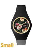 Ice Flower Colonial Small Gold watch with black silicone strap