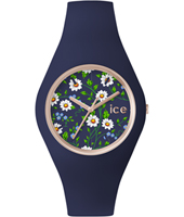 Ice-Flower Daisy Rose gold ladies watch with blue rubber strap