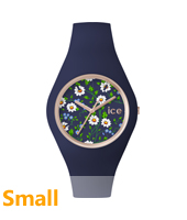 Ice Flower Daisy Small Rose gold ladies watch with blue rubber strap
