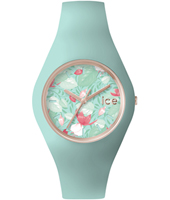 Ice-Flower Eden Rose gold ladies watch with turquoise rubber strap