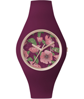 Ice-Flower Idyll Rose gold watch with purple silicone strap