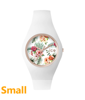 Ice-Flower Legend Rose gold ladies watch with white rubber strap