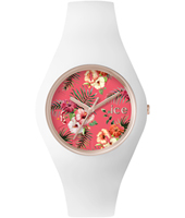 Ice-Flower Lunacy Rose gold watch with white silicone strap