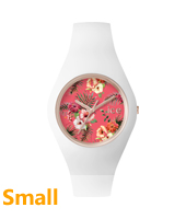 Ice Flower Lunacy Small Rose gold watch with white silicone strap