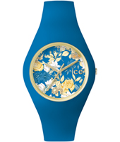 Ice-Flower Mystic Gold watch with blue silicone strap