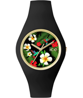 Ice-Flower Paradise Gold watch with black silicone strap