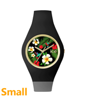 Ice Flower Paradise Small Gold watch with black silicone strap