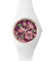 Ice-Flower Poppy Rose gold watch with white silicone strap