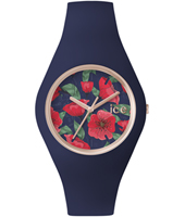 Ice-Flower Seduction Rose gold watch with dark blue silicone strap