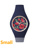 Ice Flower Seduction Small Rose gold watch with dark blue silicone strap