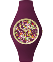 Ice-Flower Wonderland Gold watch with purple silicone strap