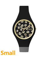 Ice-Skull Gold watch with black silicone strap