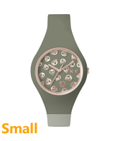 Ice-Skull Rose gold watch with skull dial and green silicone strap