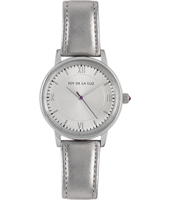 + JB23213 GIFT SET: Silver retro watch with silver leather bracelet