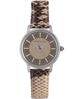 Silver and brown retro look ladies watch