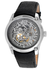44mm Automatic Steel Skeleton watch, Leather Strap