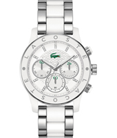2000803 Charlotte Sporty chic silver ladies chronograph with steel/white bracelet