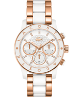 2000804 Charlotte Rose gold ladies chronograph with rose gold/white steel bracelet