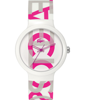 2020064 GOA White Watch with Pink Lettering