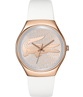 2000809 Valencia Rose gold ladies watch with white rubber strap