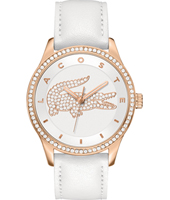 2000821 Victoria White & Rose Ladies Watch with a Crystal Bezel & Crocodile