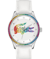 2000822 Victoria White Ladies Watch with Rainbow Crystal Bezel & Crocodile