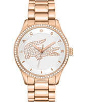 2000828 Victoria Rose gold ladies watch with silver dial and steel bracelet