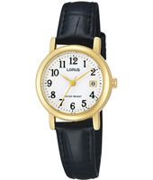 26mm Gold & White Ladies Watch with Date on Black Leather Strap