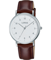32mm Steel ladies watch with brown leather strap