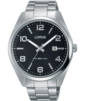 42mm Steel & black gents watch with date
