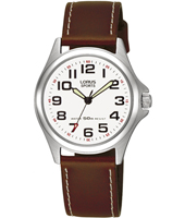 31mm Steel & White Ladies Watch on Brown Leather Strap