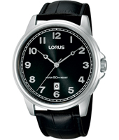 43mm Black & Steel Gents Watch with Date