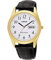 37.50mm Gold & White Gents Day/Date Watch. Black Leather Strap