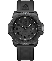 A.3051.BO Navy Seal Colormark 44mm All Black Carbon Dive Watch, Rubber Strap