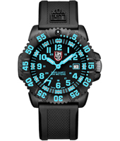 A.3053 Navy Seal Colormark 44mm Black/Bright Blue Carbon Dive Watch, Rubber Strap