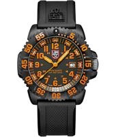 A.3059 Navy Seal Colormark 44mm Black/Orange Carbon Dive Watch, Rubber Strap