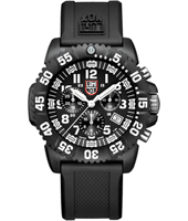 A.3081 Navy Seal Colormark 44mm Black & White Carbon Dive Chrono, Rubber Strap