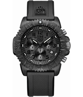 Navy Seal Colormark 44mm All Black Carbon Dive Chrono, Rubber Strap