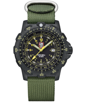 Recon Point Man 45mm Black Carbon Watch with Date & Unidirectional Bezel on Green NATO Strap