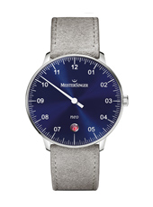 Neo 36mm Silver one hand Quartz watch with blue dial and grey leather strap