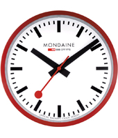 Wall Clock 25 cm 250mm Medium Red Swiss design Clock
