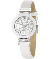 R0151103514 Firenze Silver ladies watch with white leather strap