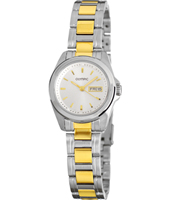 27mm Bicolor silver & gold Day/Date Ladies Watch