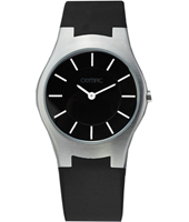 34mm Silver ladies watch with black dial and polystyrene strap