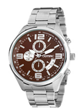 46mm Steel & brown Chronograph with Date