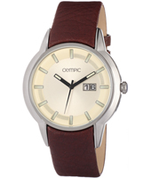 43mm Steel & cream watch with big date on brown leather strap