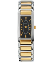 17.60mm Rectangular two-tone ladies watch with black dial